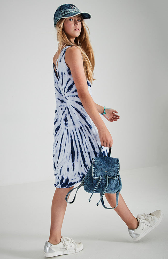 andreya tie dye back criss cross v tank dress