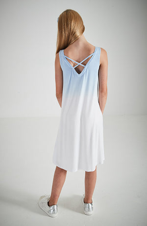 freya blue dip dye back criss cross v tank dress