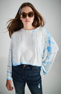 sia blue tie dye slouchy roomy cropped top