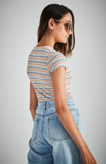 anna-lynne multi-coloured stripe fitted stretch top