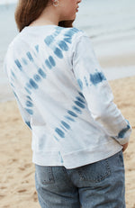 aurora blue grey tie dye silver zip girls sweat top