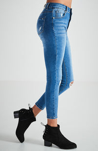 mia mid blue stretch denim 7/8 length high rise jean