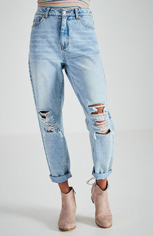 girlfriend light blue 90s inspired high rise relaxed fit jean