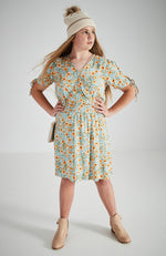 jolie floral shirred wrap style girls dress