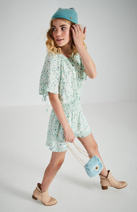 goldie pastel floral raglan shirred girls playsuit