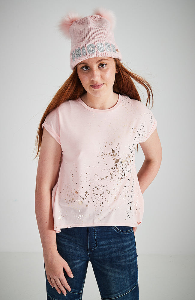 pink high low split back girls splatter tee
