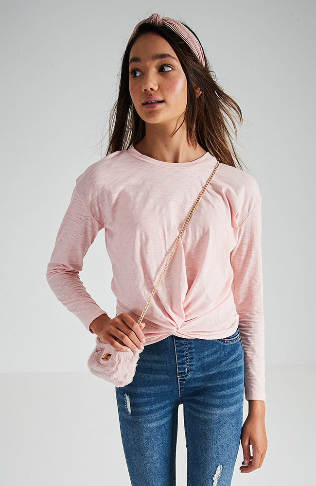 georgia rose pink twist-front girls top