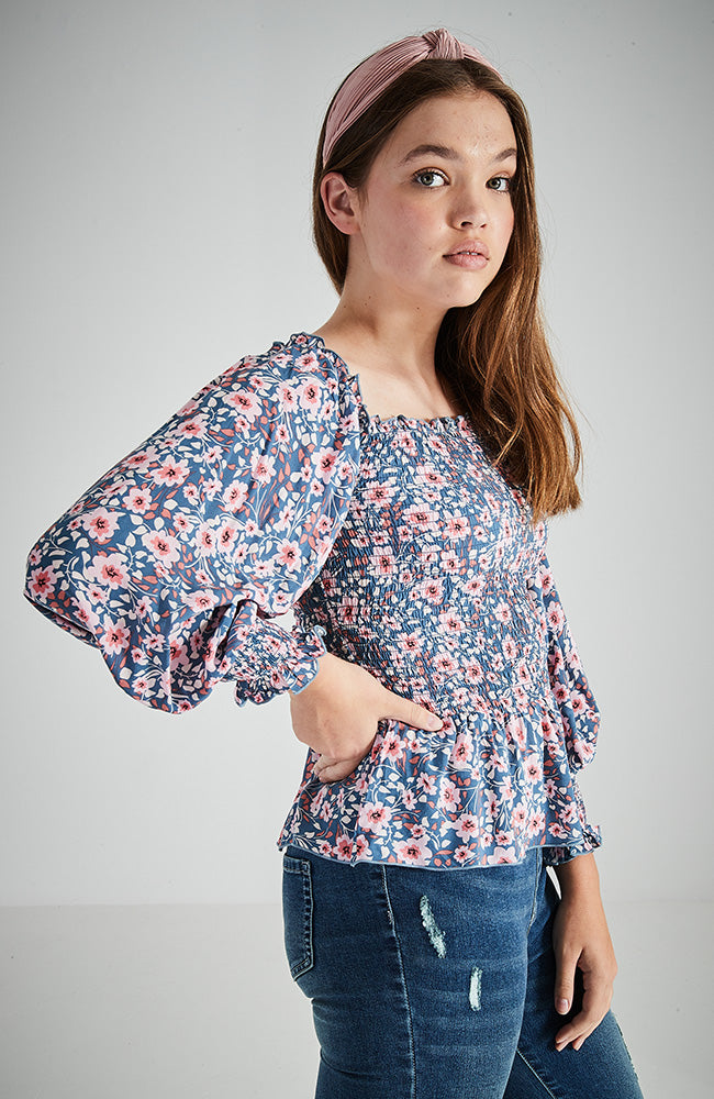 eliana blue floral shirred ruffle girls top