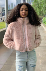 jessa faux fluffy fur zip through girls jacket