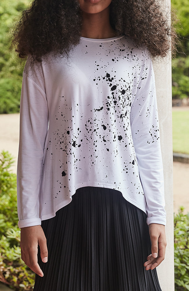 paint white and black splatter girls tee