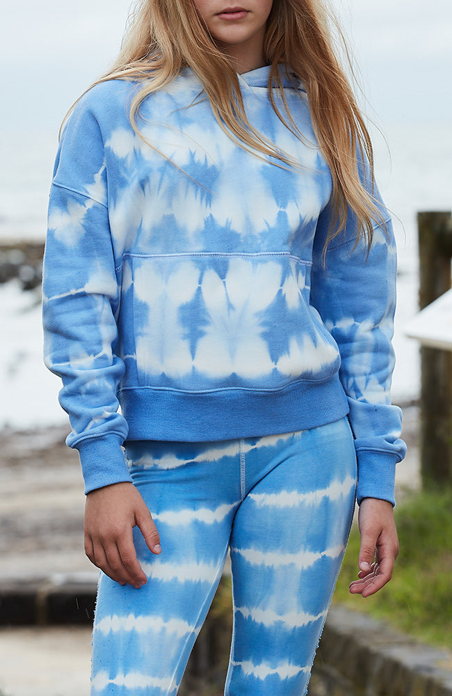phoebe sky blue tie dye girls active sweat hoodie