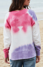 jill pink and purple tie dye girls active sweat top