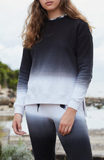 jill black to white dip dye girls active sweat top
