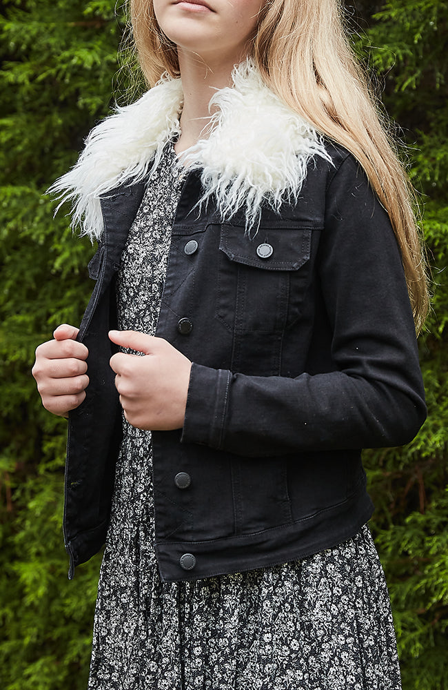 dorothea black faux sherpa girls tailored denim jacket