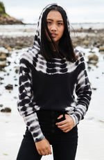 bryanna black and white tie dye oversized high low hooded girls knit top