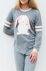 grey marle bunny faux fur applique girls lounge top