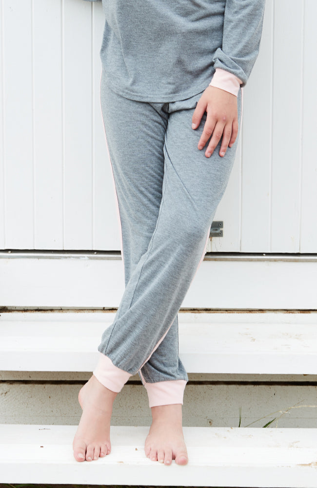 striped grey marle pink girls comfy lounge pant