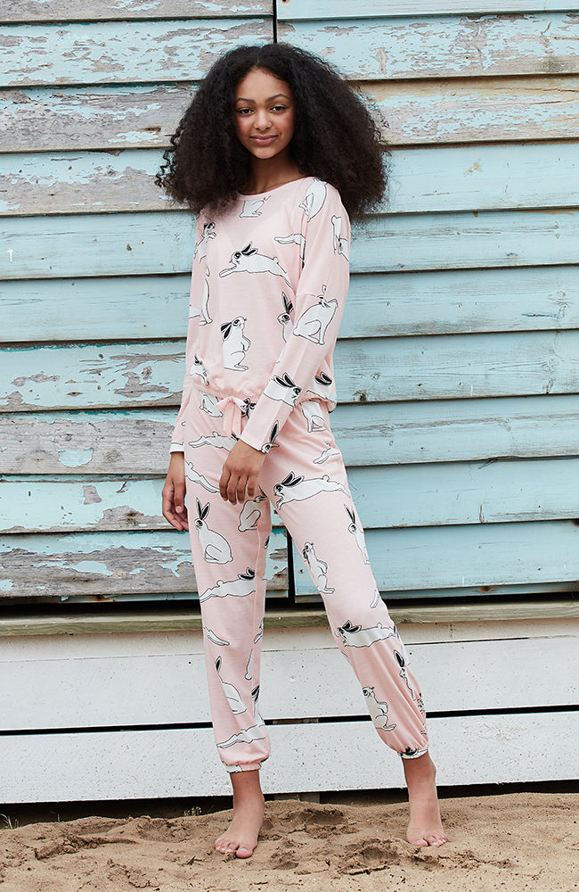 bunny pink oversized girls lounge top