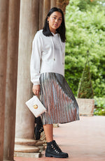 cleo silver pleated woven girls paperbag skirt