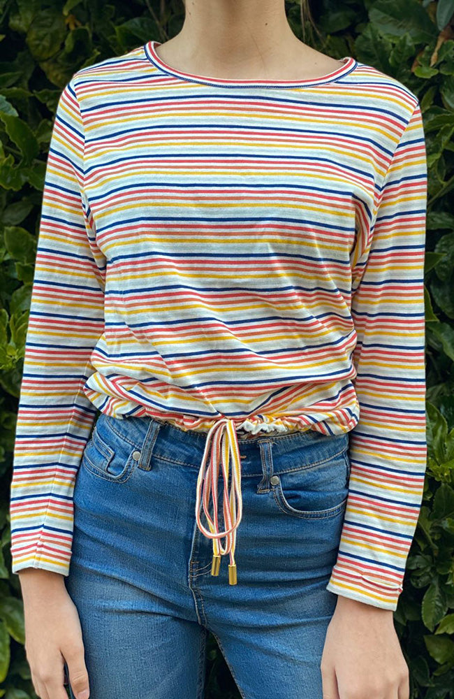 cori multicolour striped long sleeve girls slouchy tee