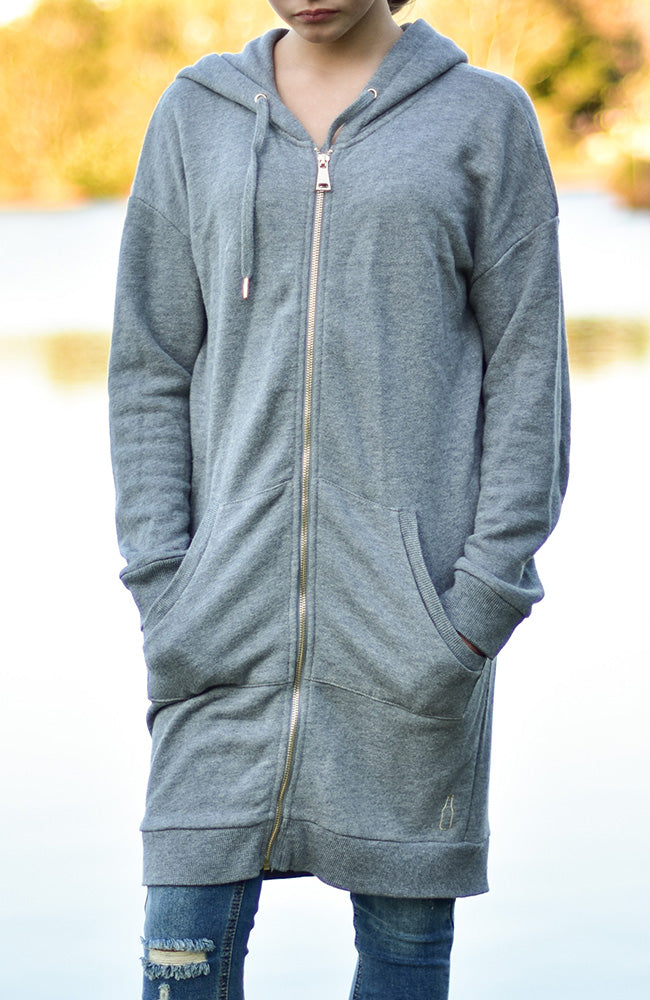 Dee Longline Hooded Soft Sweat Cardigan Zip Front