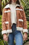 Becky Vegan Shearling Fur Suede Jacket - Tan