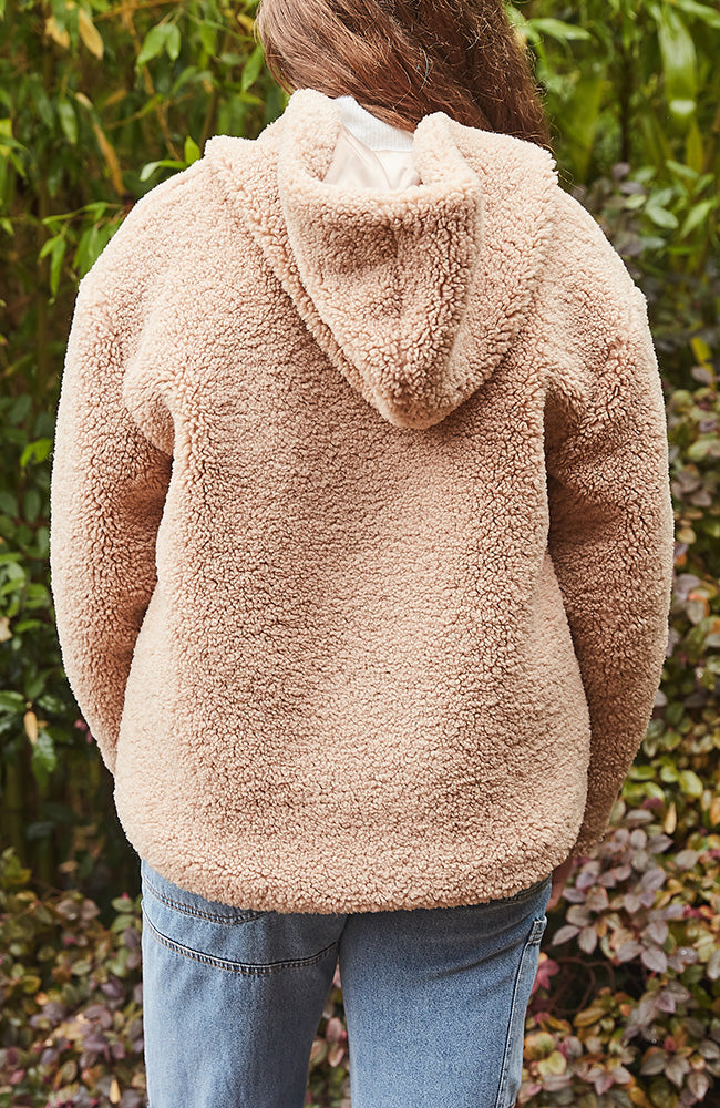 Sammy Slouchy Teddy Jacket Hooded Faux Fur Sherpa - Tan