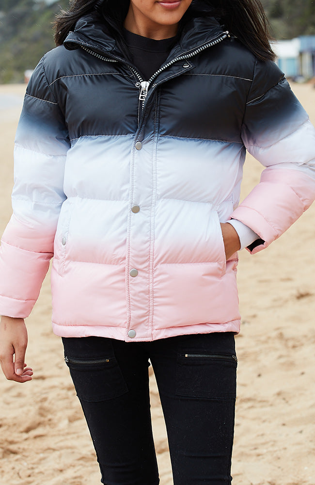 Dip Dye Super Soft Girls Puff Sister Jacket