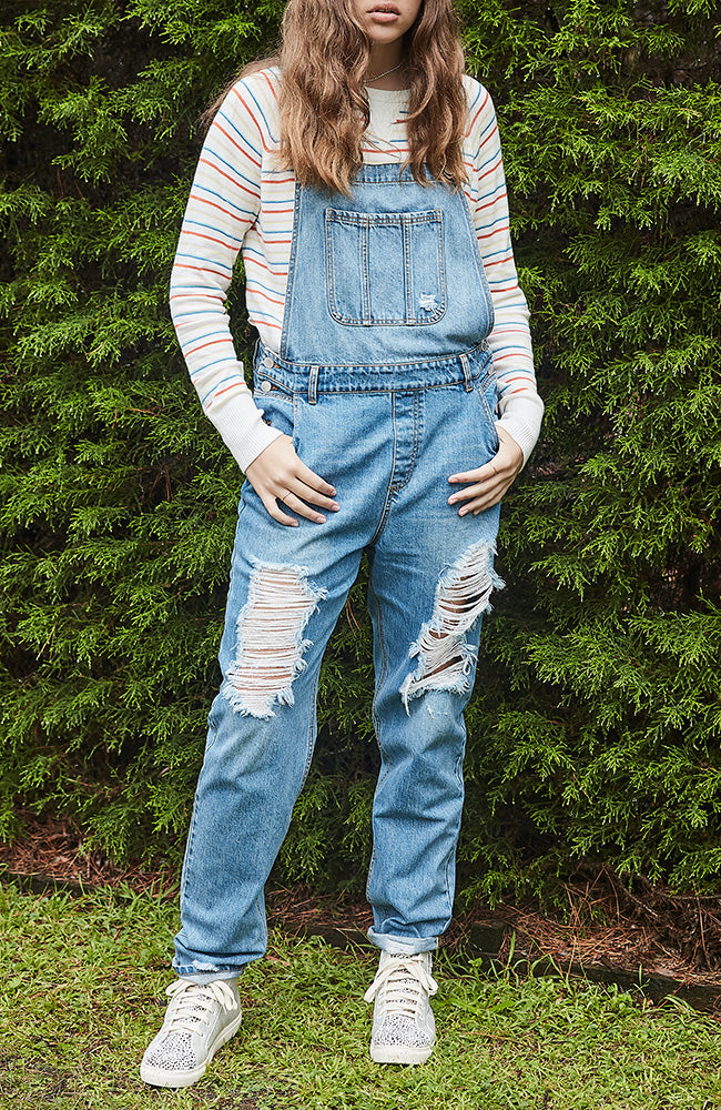 Hayley Girlfriend Distressed Denim Overalls - Washed Vintage Blue