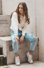 Rae Girlfriend High Rise Ripped Distressed Denim Jean - Blue Acid Wash