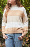 Kaelyn Striped High Low Zip Knit Top Slouchy Jumper - Tan