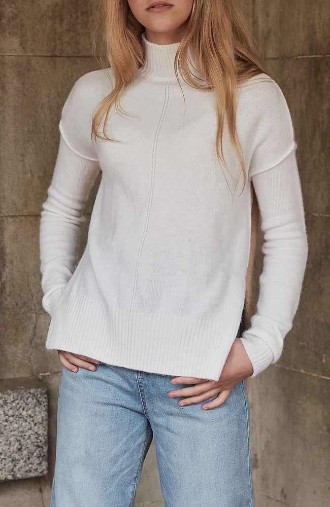 kaylee two tone cream and tan high low girls knit top