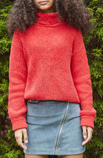 mary red chenille drop needle girls knit top