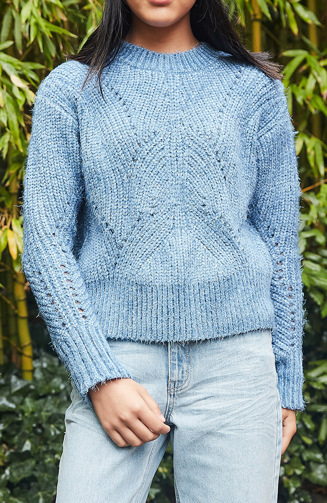 deb fluffly chenille blue girls knit top
