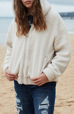 erina cream faux sherpa ultra soft girls lounge jacket