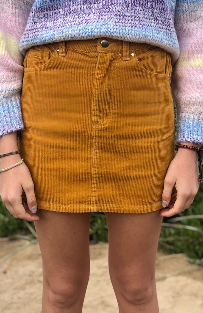 olive yellow corduroy mini skirt