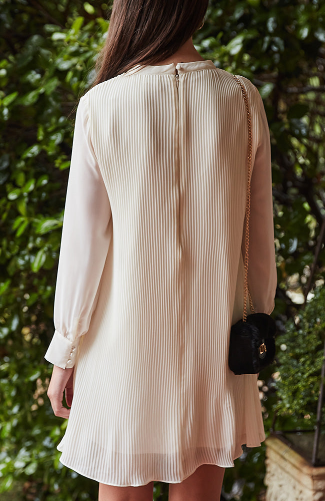 julia cream long sleeve pleated party dress