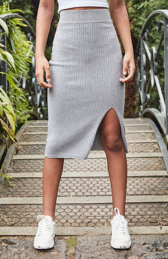 Catherine Ribbed Knit Super Soft Midi Skirt - Grey