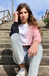 samira slouchy pink dip dye girls raglan sweat top