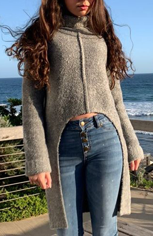 kaylah grey marle boucle yarn turtle neck high low curve front girls knit top