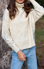 marla soft oatmeal marle turtle neck high low hem girls knit top