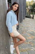 lola blue hoodie girls chenille knit top