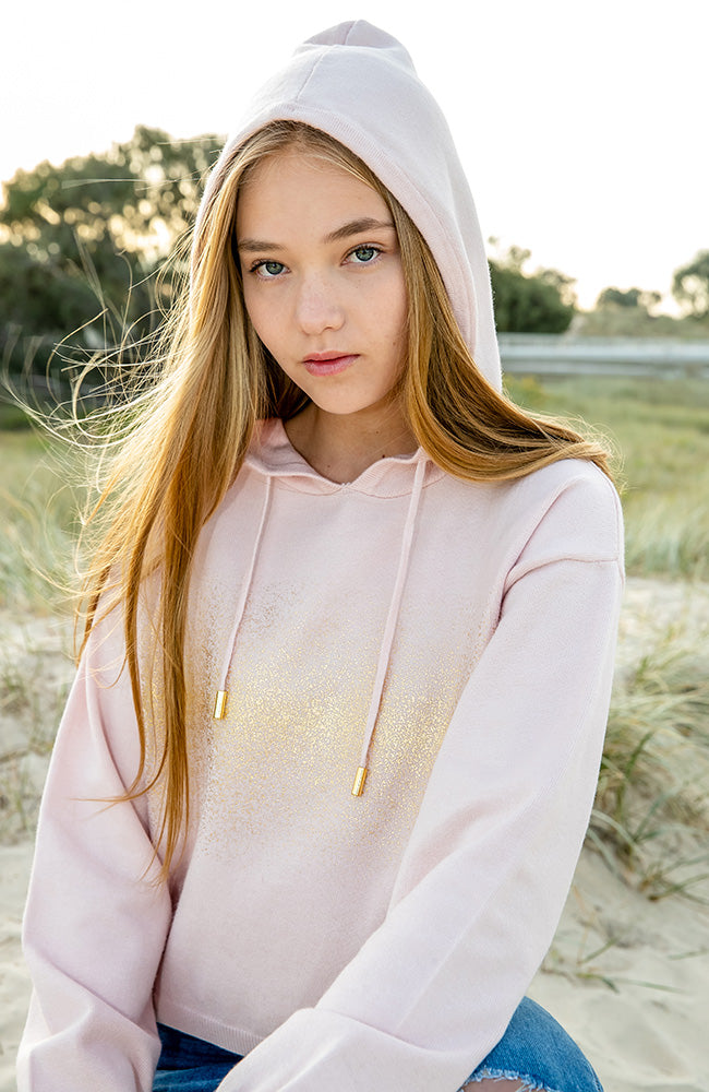joanna pink and gold metallic slouchy hoodie girls knit top