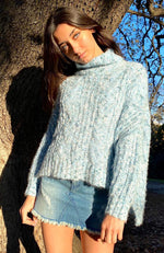 rhonda blue speckle rolled neck girls chunky knit top