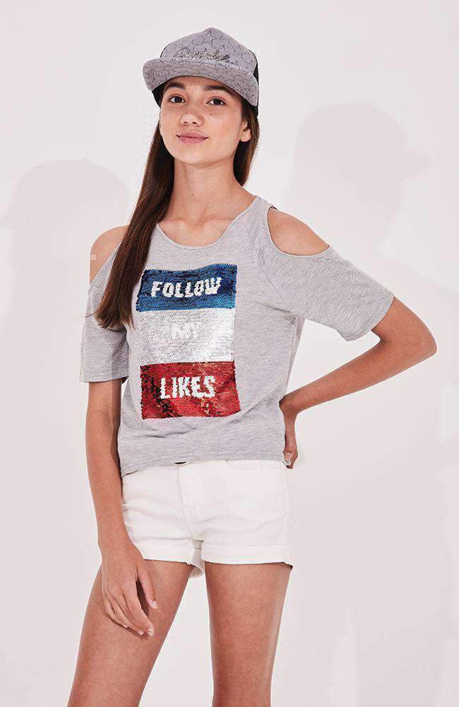 follow me blue silver & red swipe sequin tee
