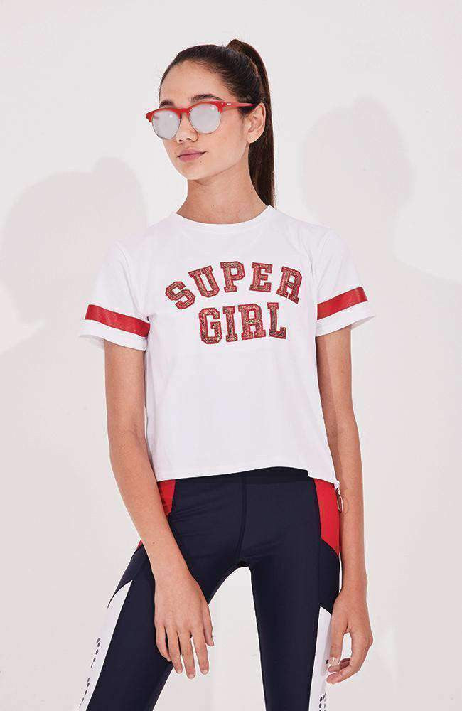 supergirl red & white cropped active sweat top