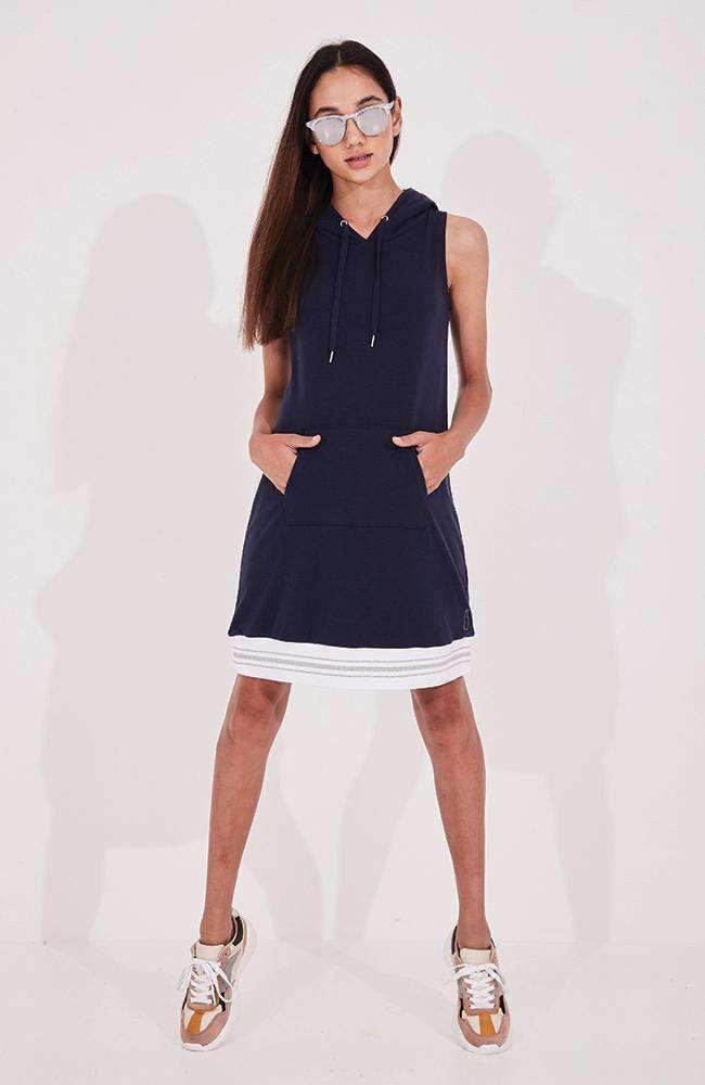 aveline navy & white hooded active knit dress