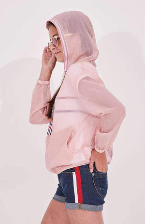 ronny sheer pink hooded active jacket