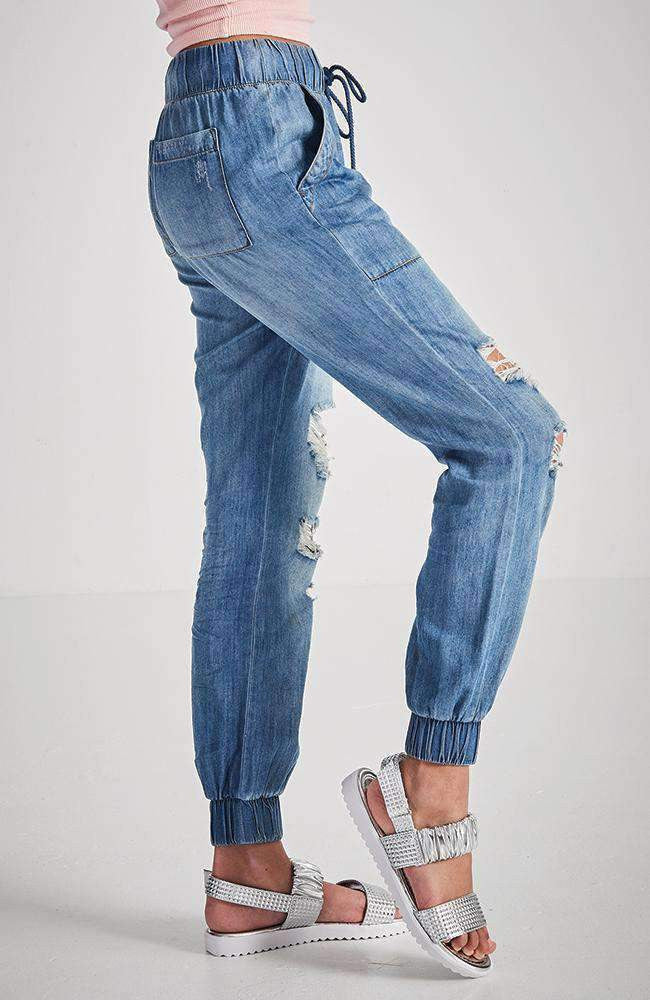 karlie relaxed cuffed blue pant