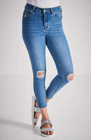 mia 7/8 mid blue ripped knee jean